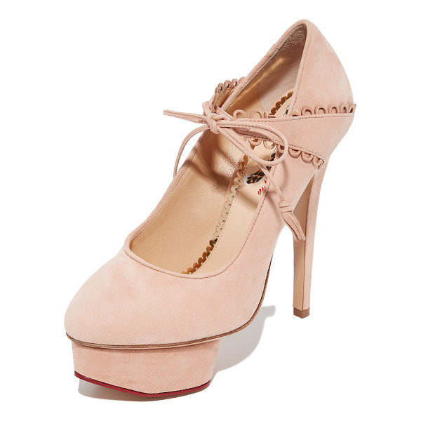 CHARLOTTE OLYMPIA ophelia heels - Pastel suede and scalloped trim add a feminine feel to