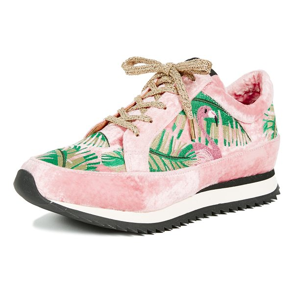 CHARLOTTE OLYMPIA work it! flamingo sneakers - Fabric: Velvet Lace-up style Flat profile Lace-up at top...