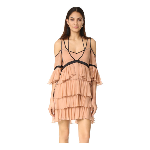 CINQ A SEPT blair dress - Contrast seams accentuate the delicate, tiered ruffles on...