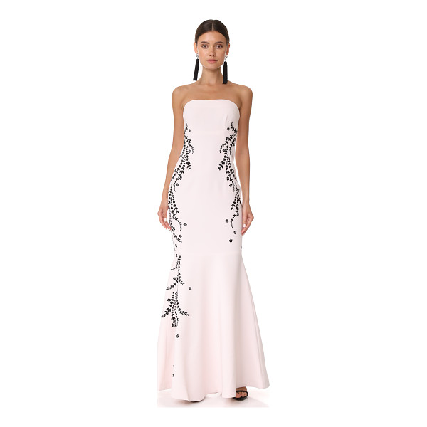 CINQ A SEPT luna embroidered gown - A strapless Cinq a Sept gown with contrast laurel...