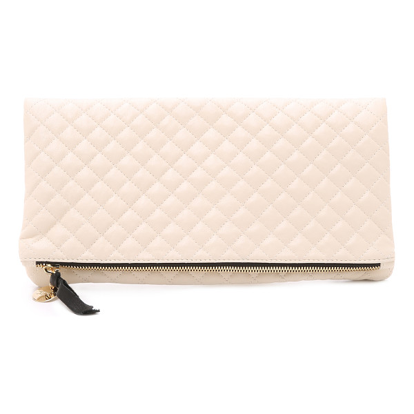CLARE V. Quilted supreme fold over clutch - A quilted leather Clare V. clutch with coin pull at the top...