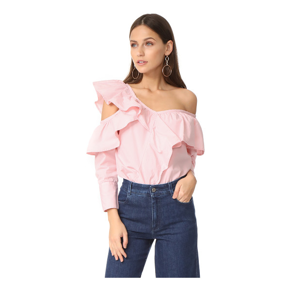 CLU asymmetrical top with ruffle - This asymmetrical Clu blouse is detailed with flounced...