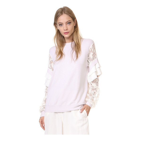 CLU pleat trimmed lace sleeve pullover - This delicate french terry Clu sweatshirt is finished with...