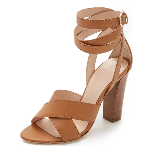 CLUB MONACO valencia ankle wrap sandal - Topstitching accents the crisscross straps on these smooth...