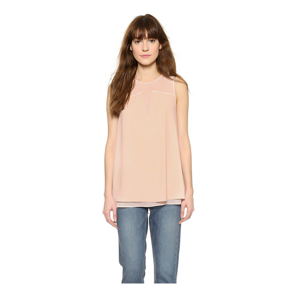 COOPER & ELLA Keira ladder stitch shell top - A flowing Cooper & Ella shell top with an opaque overlay....