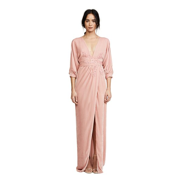 COSTARELLOS plunging neckline long dress - A pale velvet Costarellos dress with with leaf appliqués...