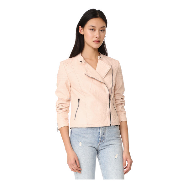 CUPCAKES AND CASHMERE dax vegan pebbled moto jacket - A wrinkled finish lends a time-worn feel to this cupcakes...