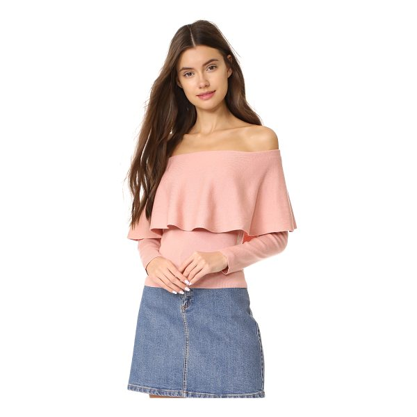 CUPCAKES AND CASHMERE otis off shoulder sweater - A shoulder-baring neckline with a draped ruffle lends a...