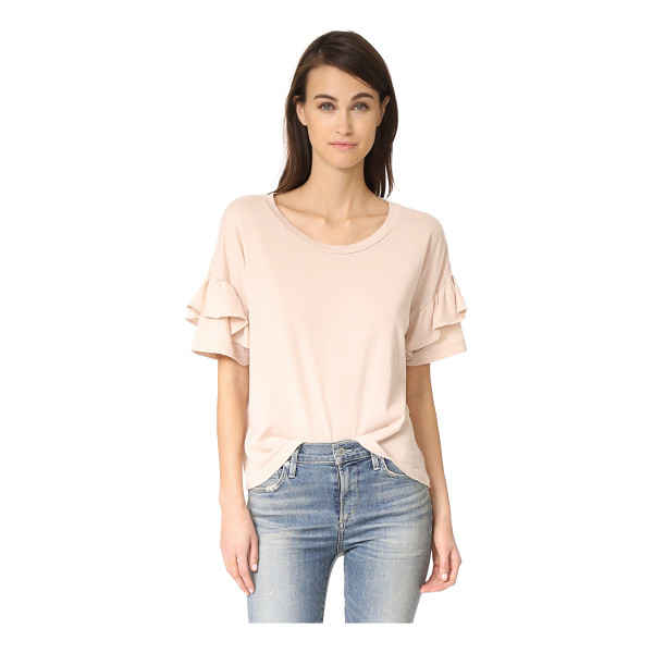 CURRENT/ELLIOTT the ruffle roadie tee - A pale jersey Current / Elliott tee with a super-soft,...