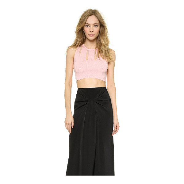 CUSHNIE ET OCHS Knit crop top - Divided panels frame the round neckline of this fine knit...
