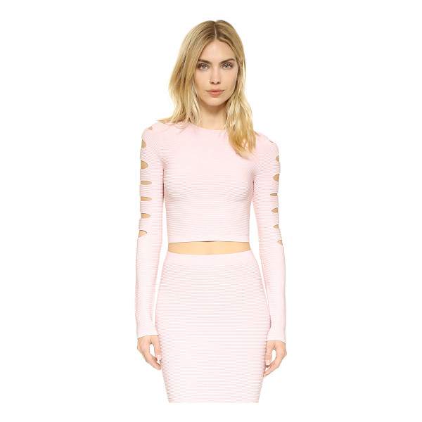 CUSHNIE ET OCHS long sleeve slashed crop top - Thin slits accent the back and long sleeves of this...