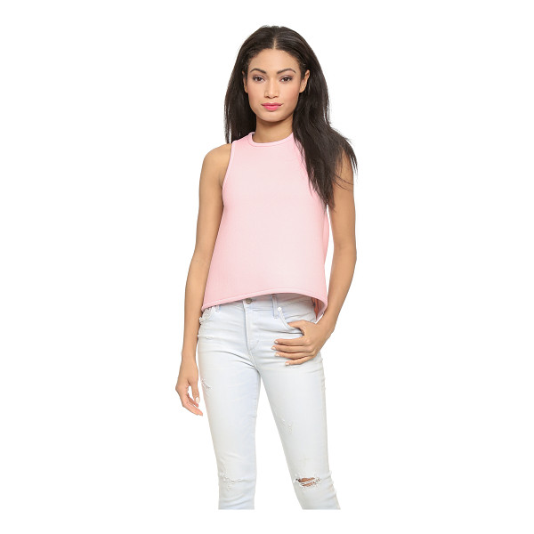 CYNTHIA ROWLEY Bonded pique racer shell top - A sleeveless Cynthia Rowley top cut from crisp neoprene...