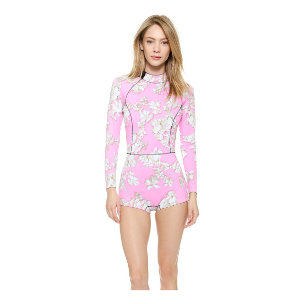 CYNTHIA ROWLEY Pink embellished floral wetsuit - A surf ready Cynthia Rowley swimsuit in slick neoprene....