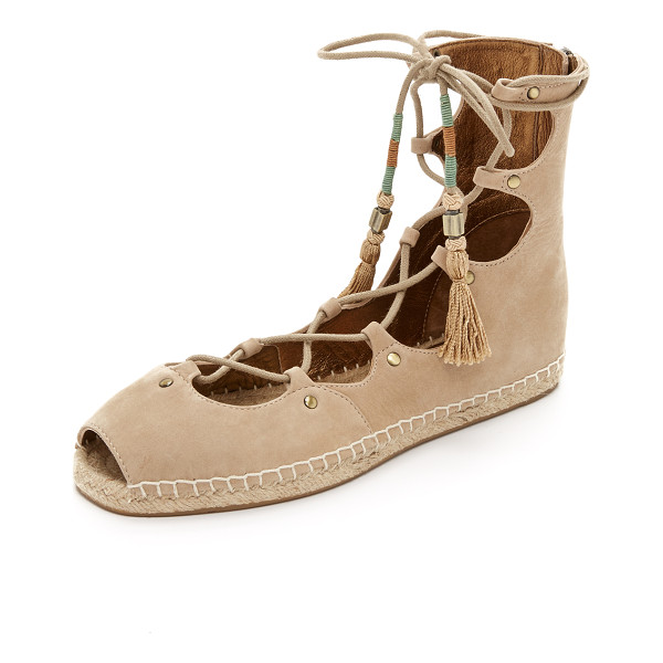 CYNTHIA VINCENT Palace gladiator espadrilles - Soft nubuck composes these peep toe Cynthia Vincent
