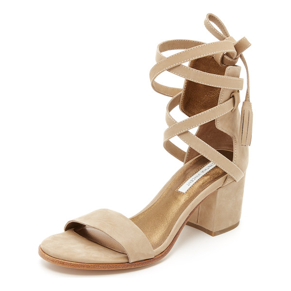 CYNTHIA VINCENT Petunia city sandals - A tasseled ankle wrap details these soft nubuck Cynthia