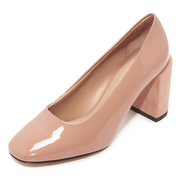 DEAR FRANCES nina classic pumps - Patent leather Dear Frances pumps with chunky suede-wrapped...