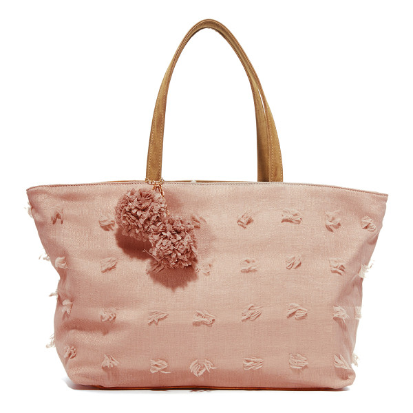 DEUX LUX blossoms tote - Soft, raised threads accent this subtly checked Deux Lux...