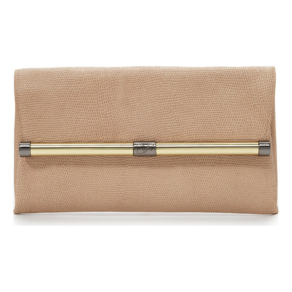DIANE VON FURSTENBERG 440 shimmer embossed clutch - A refined DVF clutch in shimmery lizard embossed leather....