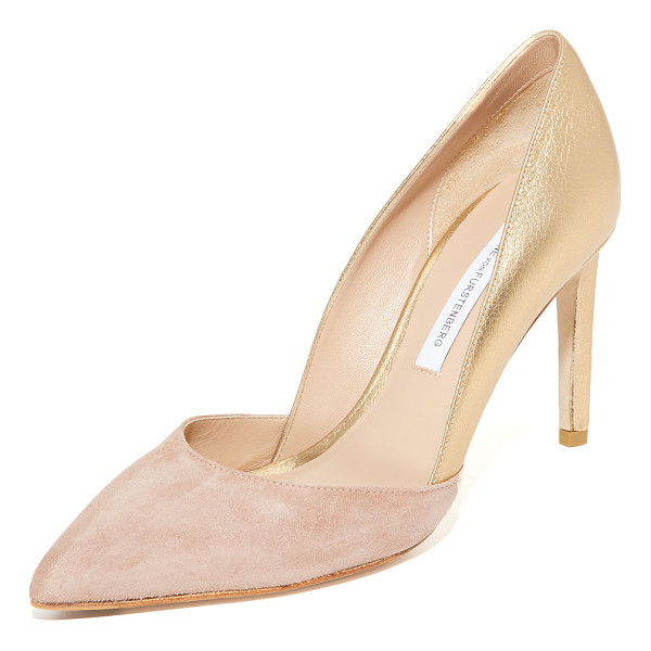 DIANE VON FURSTENBERG lillie pumps - Crackled metallic leather contrasts with the suede vamp on