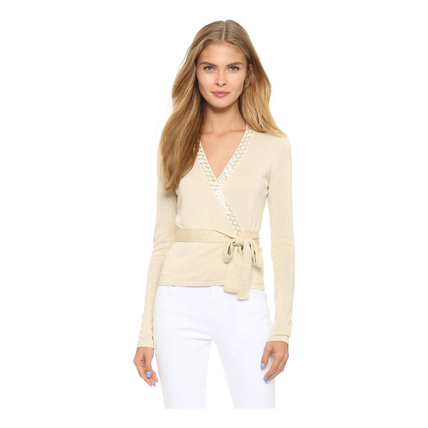 DIANE VON FURSTENBERG Embellished ballerina wrap sweater - A fitted DVF wrap sweater with metallic sheen. Beading...