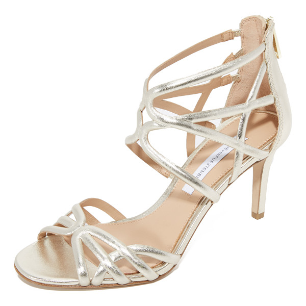 DIANE VON FURSTENBERG rao sandals - Scalloped straps lend a caged effect to these glam metallic...