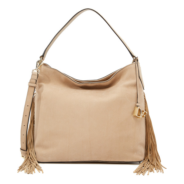 DIANE VON FURSTENBERG Voyage boho fringe hobo bag - Soft, rich nubuck composes this chic DVF handbag, and