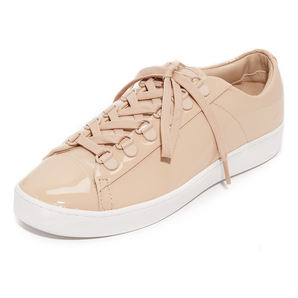 DKNY brayden d ring classic court sneakers - Matte grommets trim the lace-up closure on these glossy...
