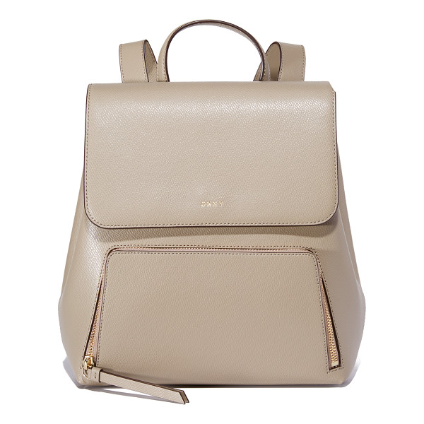 DKNY bryant park backpack - Rich leather composes this polished DKNY backpack. Zip...