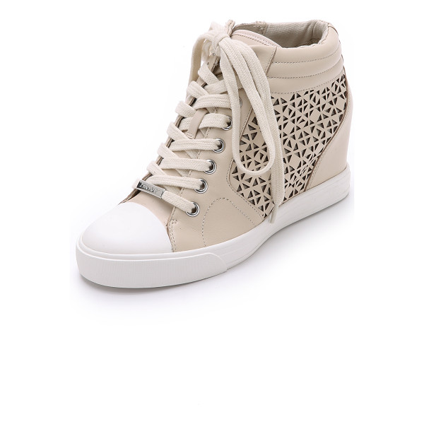 DKNY Cindy wedge sneakers - Laser cut detailing brings a feminine feel to these DKNY...