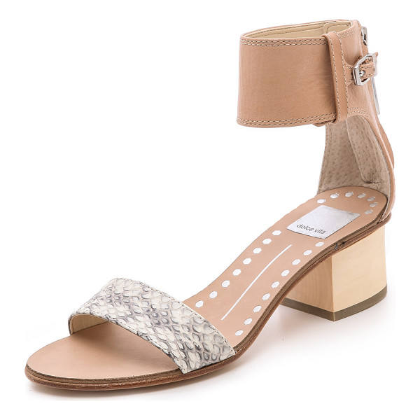 DOLCE VITA Foxie low heel sandals - A wide ankle cuff and snakeskin band lend easy...