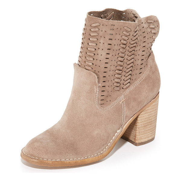 DOLCE VITA landon booties - Whipstitched strands accent the slouchy, perforated shaft...
