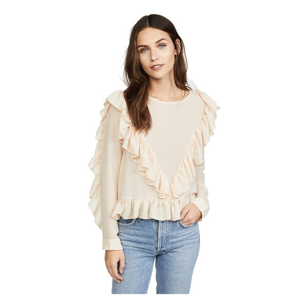 DRA andrea top - Ruffles add a feminine charm to this sheer dRA blouse. Long...