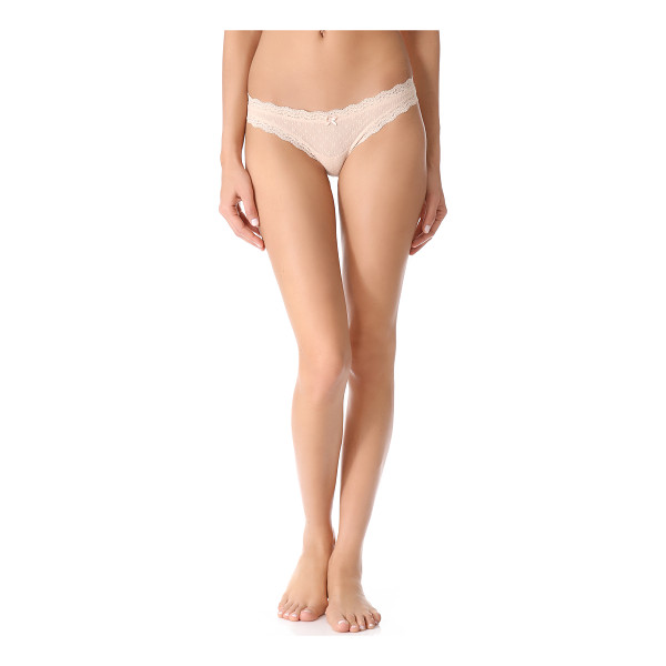 EBERJEY delirious low rise thong - This sheer stretch-lace thong features a ribbon bow accent...