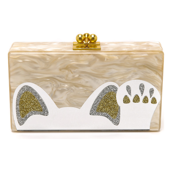 EDIE PARKER Jean beckoning cat clutch - A sweet cat shaped graphic with a mirrored surface accents