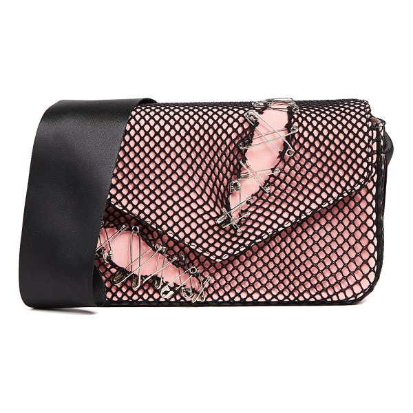 EDIE PARKER melissa pinned suede bag - A soft suede Edie Parker bag covered with ripped fishnet...