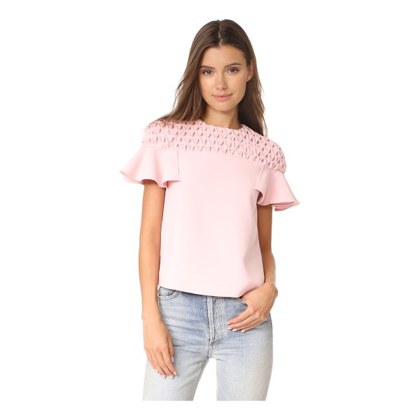 EDIT frill sleeve smock yoke top - Patterned smocking lends dimension to the yoke of this...