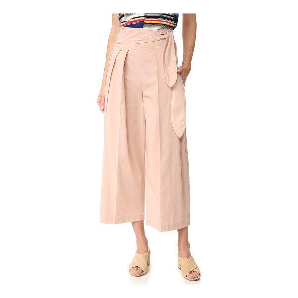 EDUN tie waist pants - Pleating accentuates the wide-leg shape of these cropped,