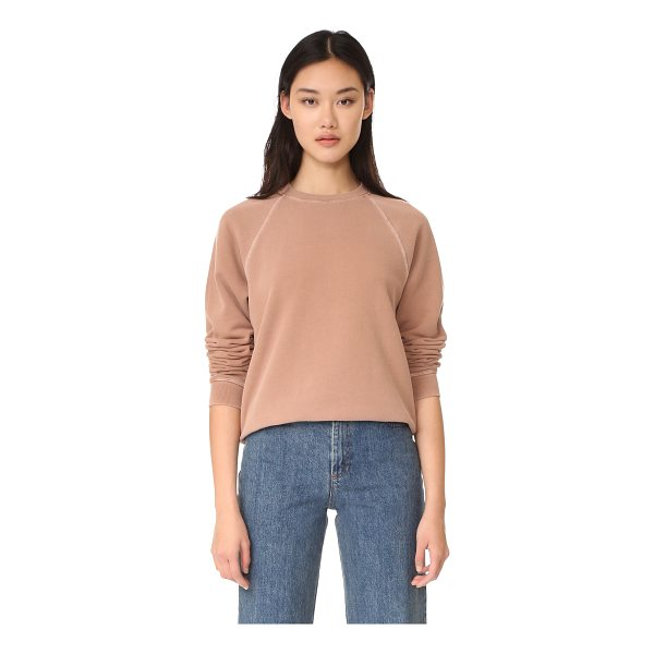 ELIZABETH AND JAMES crew neck sweatshirt - A faded wash lends a time-worn effect to this cozy fleece...