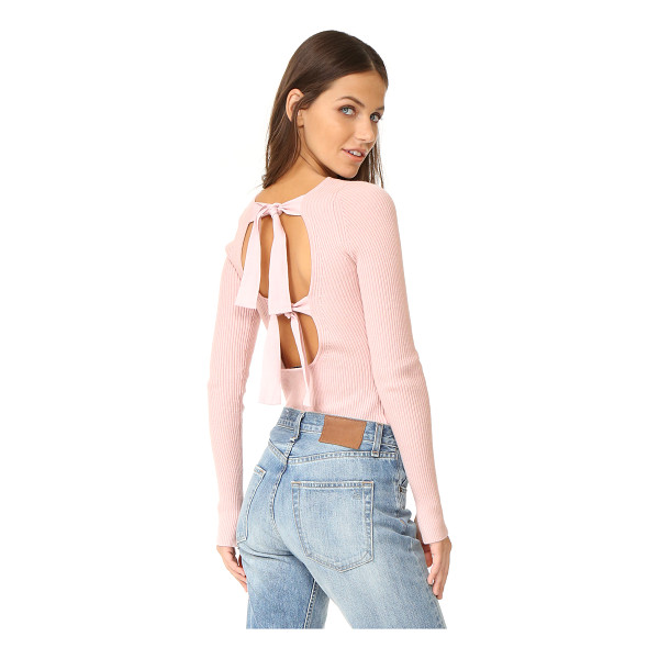 ELIZABETH AND JAMES fay tie back long sleeve sweater - Wide ties cross the scoop back of this formfitting...