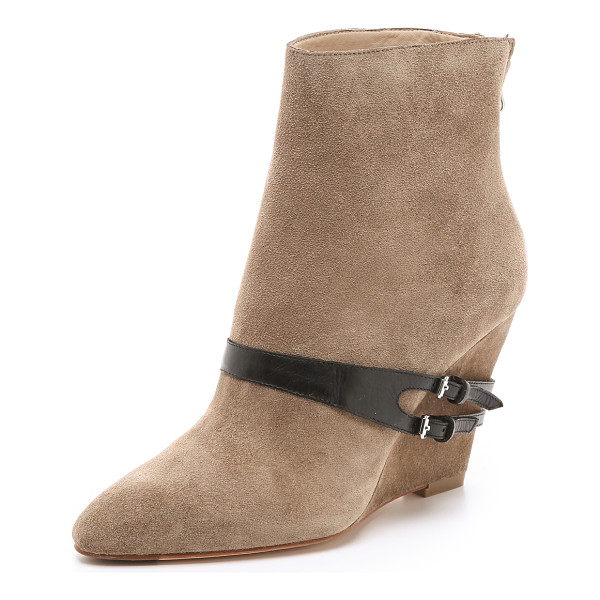 ELIZABETH AND JAMES Reily suede wedge booties - A contrast leather strap wraps around the instep and heel