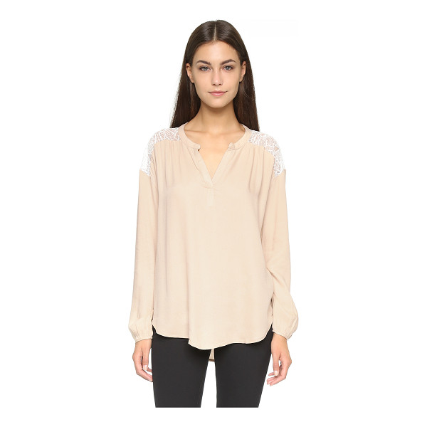 ELLA MOSS Amara lace placket blouse - A panel of lace at the back adds a feminine touch to this...