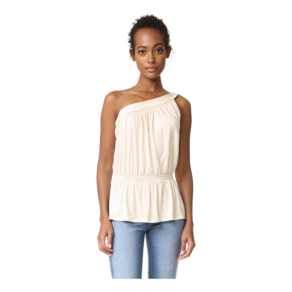 ELLA MOSS one shoulder tank - Smocked elastic nips the waist on this goddess-inspired...