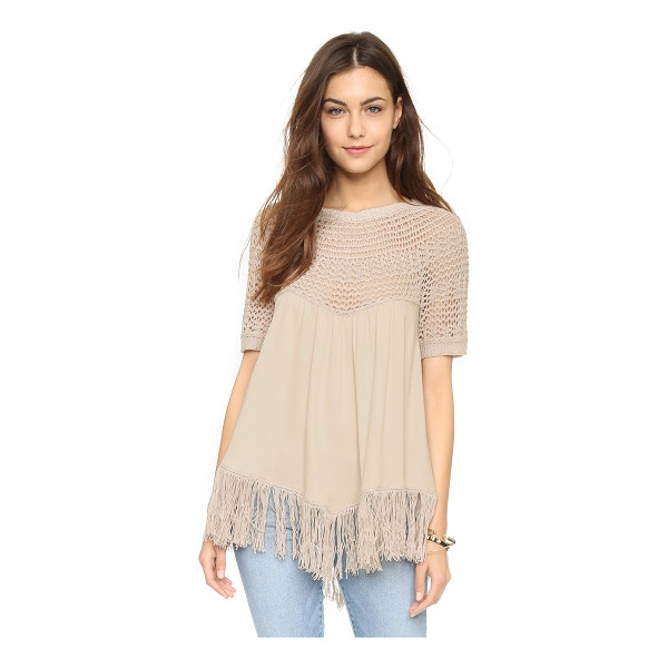 ELLA MOSS Sabrina sweater - An airy Ella Moss top with an open knit yoke and fringed...