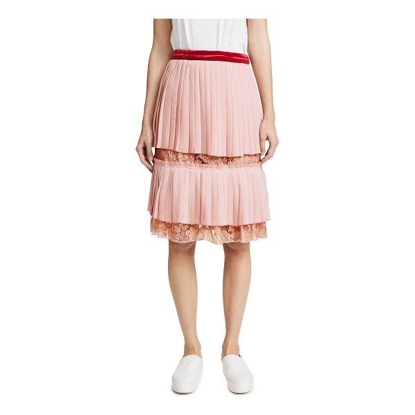 ENDLESS ROSE pleated lace skirt - This party-ready endless rose skirt is composed of metallic...