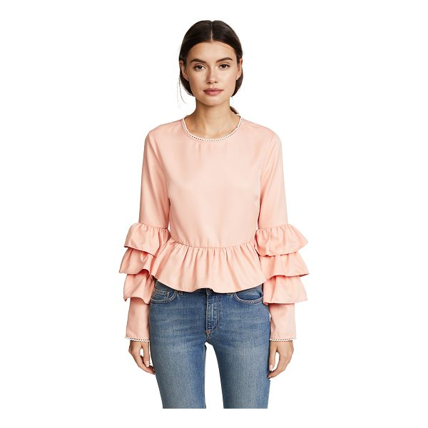 ENDLESS ROSE tiered ruffle sleeve peplum blouse - Fabric: Silky twill Pullover style Waist-length style Crew...