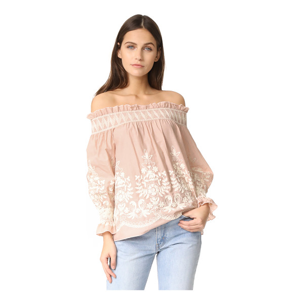 ENGLISH FACTORY embroidered off shoulder top - Chain-stitch embroidery complements the bohemian feel of...