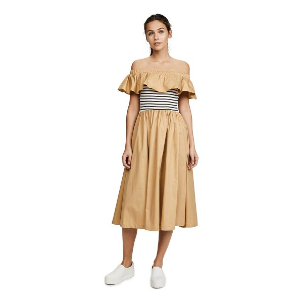 ENGLISH FACTORY off shoulder ruffle stripe dress - A charming off-shoulder ENGLISH FACTORY dress with a...