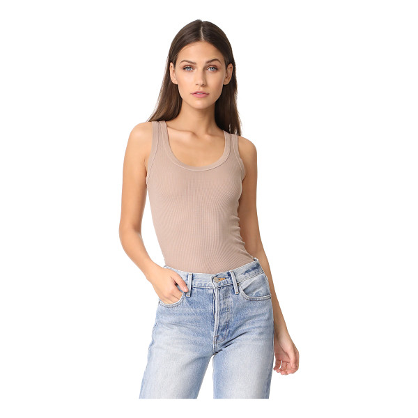 ENZA COSTA bold ribbed tank - A lightweight, ribbed Enza Costa tank with a banded scoop...