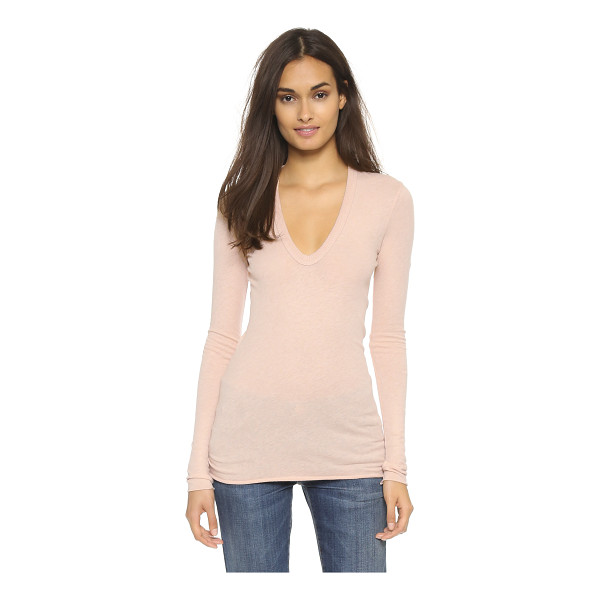 ENZA COSTA U neck top - This long Enza Costa tee has a soft feel in a fine cotton...