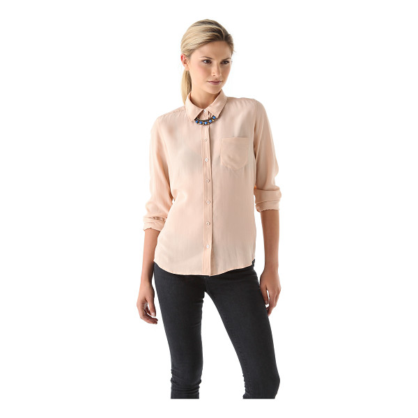 EQUIPMENT brett blouse - This silk blouse features a fold over collar and an 8...